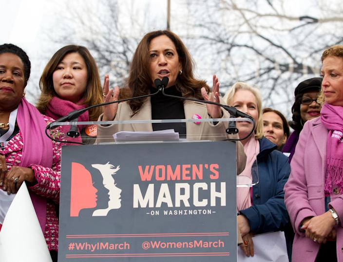 Sen. Kamala Harris speaks during the Women's March on Washington on Jan. 21, 2017.