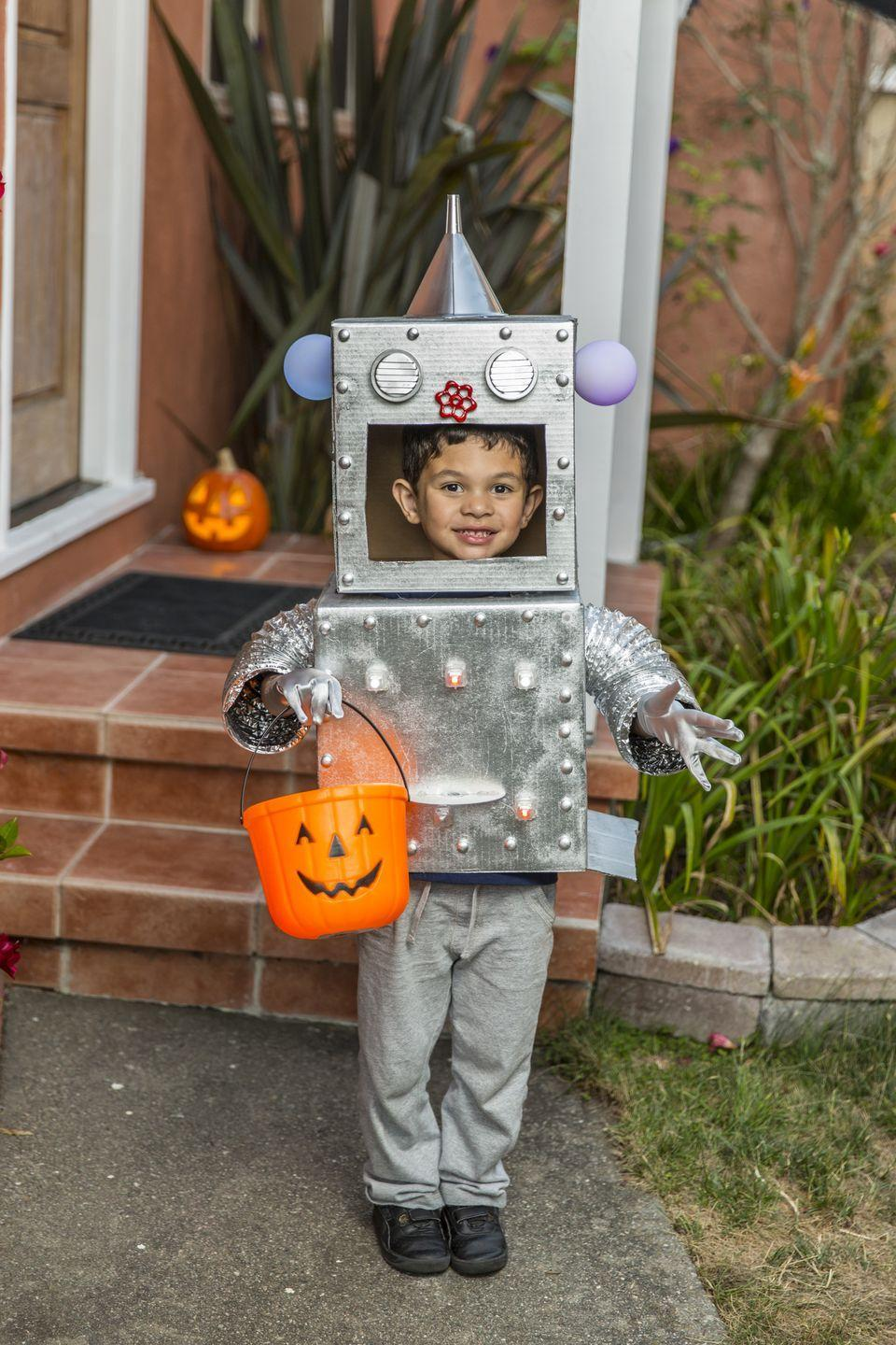 <p>On the other hand, here's a DIY robot costume that doesn't insinuate the destruction of everything in sight (and helps reuse all those extra cardboard boxes you've got from Amazon).</p>