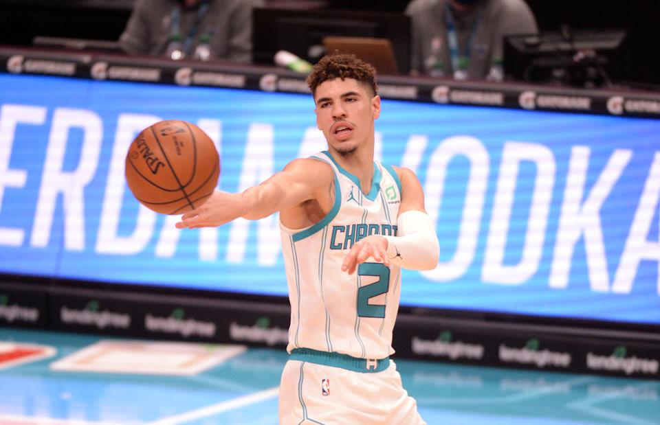 Dec 27, 2020; Charlotte, North Carolina, USA;  Charlotte Hornets guard LaMelo Ball (2) passes during the second half against the Brooklyn Nets at the Spectrum Center. Hornets won 106-104. Mandatory Credit: Sam Sharpe-USA TODAY Sports