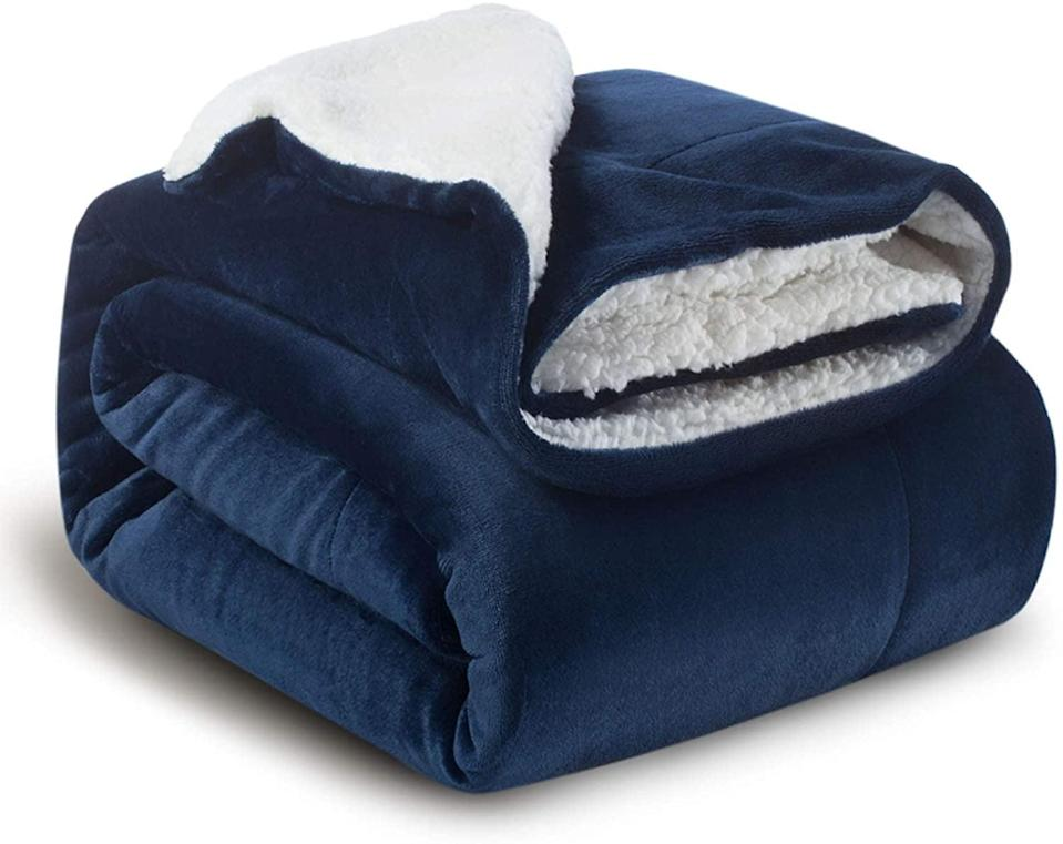 <p>The <span>Bedsure Sherpa Fleece Blanket Throw</span> ($23) is incredibly soft.</p>