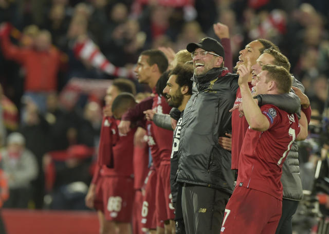 Jurgen Klopp leads Liverpool players in celebrating an unbelievable comeback.