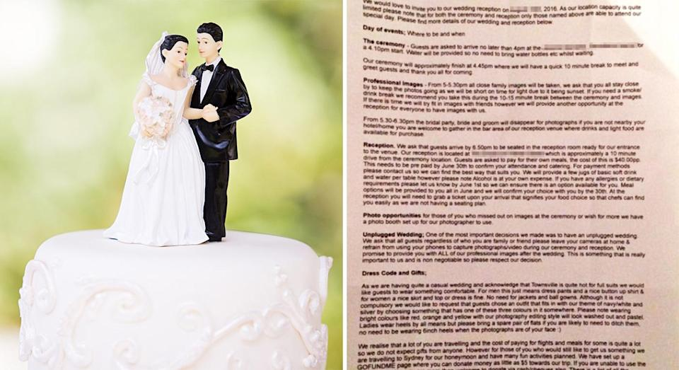 The bride asked guests to cover the costs of their meals and alcohol. [Photo: Getty/Facebook]