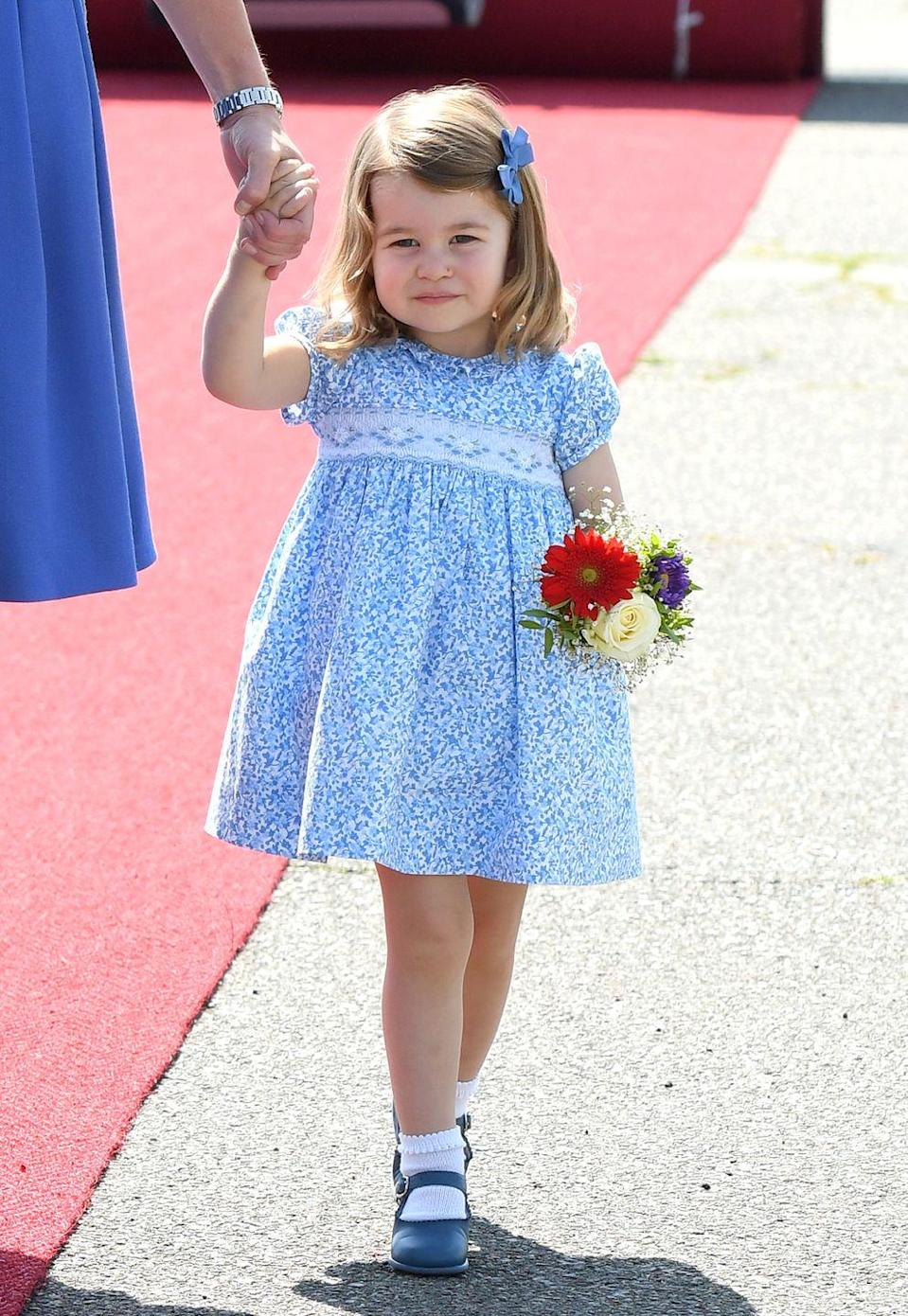<p>Charlotte always wears floaty floral or pastel dresses when in public with her parents. In fact, most little princesses from Anne forward have worn such frocks as children. </p>