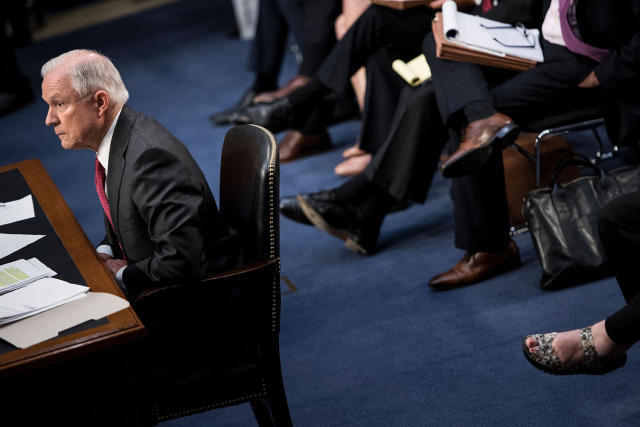 <p>Attorney General Jeff Sessions testifies during a US Senate Select Committee on Intelligence hearing on Capitol Hill in Washington, DC, June 13, 2017. (Brendan Smialowski/AFP/Getty Images) </p>