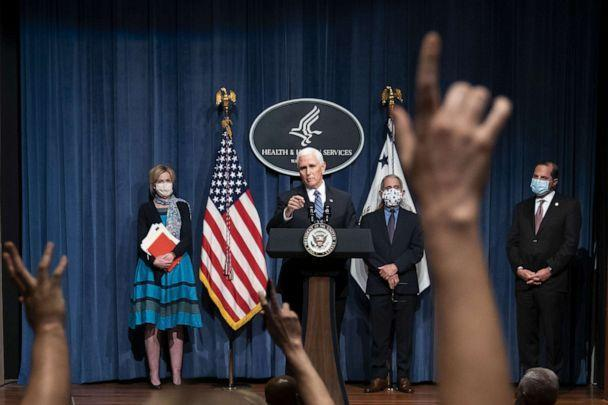 PHOTO: Vice President Mike Pence takes a question after leading a White House Coronavirus Task Force briefing at the Department of Health and Human Services, in Washington, June 26, 2020. (Joshua Roberts/Getty Images)