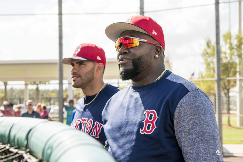FT. MYERS, FL - MARCH 2: J.D. Martinez #28 of the Boston Red Sox talks with former designated hitter David Ortiz during a team workout on March 2, 2018 at Fenway South in Fort Myers, Florida . (Photo by Billie Weiss/Boston Red Sox/Getty Images)