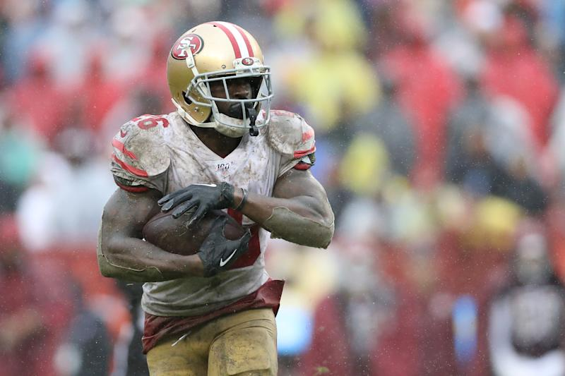 Tevin Coleman #26 of the San Francisco 49ers