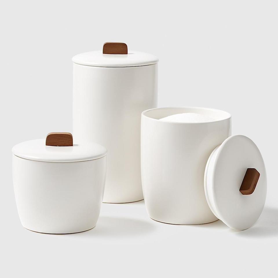 <p>These <span>Marie Kondo Cloud White Ceramic Bulk Canisters</span> ($20-$27) are perfect for sugar and flour.</p>