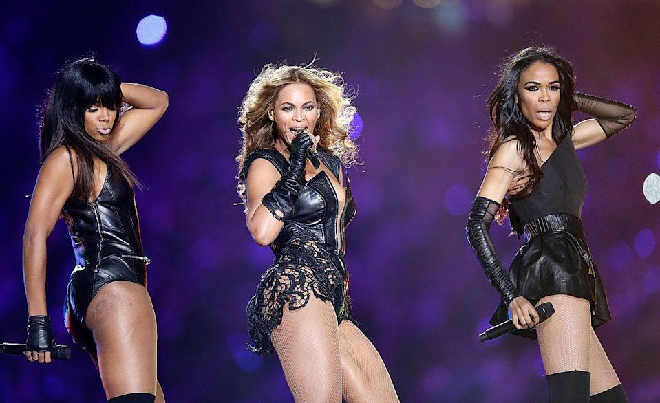 """<p>Beyoncé, who was joined by her former Destiny's Child members, wore a leather cutout bodysuit by Rubin Singer.</p><p><a class=""""link rapid-noclick-resp"""" href=""""https://www.youtube.com/watch?v=suIg9kTGBVI&ab_channel=TheVideoSelection"""" rel=""""nofollow noopener"""" target=""""_blank"""" data-ylk=""""slk:WATCH NOW"""">WATCH NOW</a></p>"""