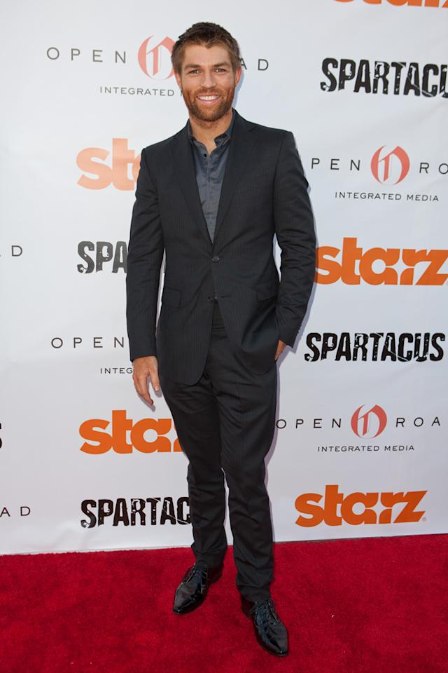 """Liam McIntyre arrives at Starz """"Spartacus"""" Then and Now at Leonard Goldenson Theatre on May 31, 2012 in Hollywood, California."""