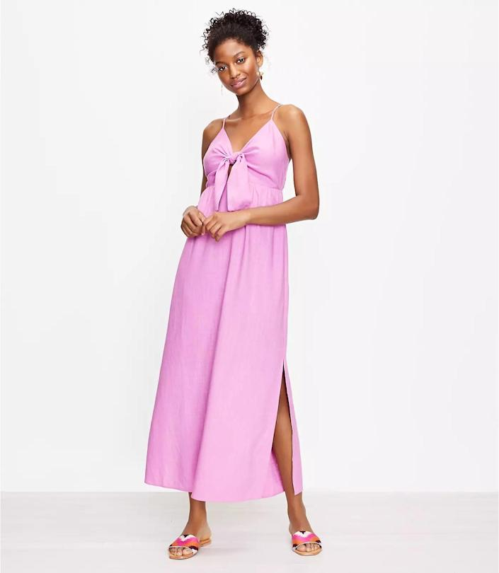 <p>This fluid <span>Loft Beach Tie Front Strappy Dress</span> ($100, plus 40 percent off with code WOW) looks feminine, playful, and summery. Be sure to pack it for your next vacation.</p>