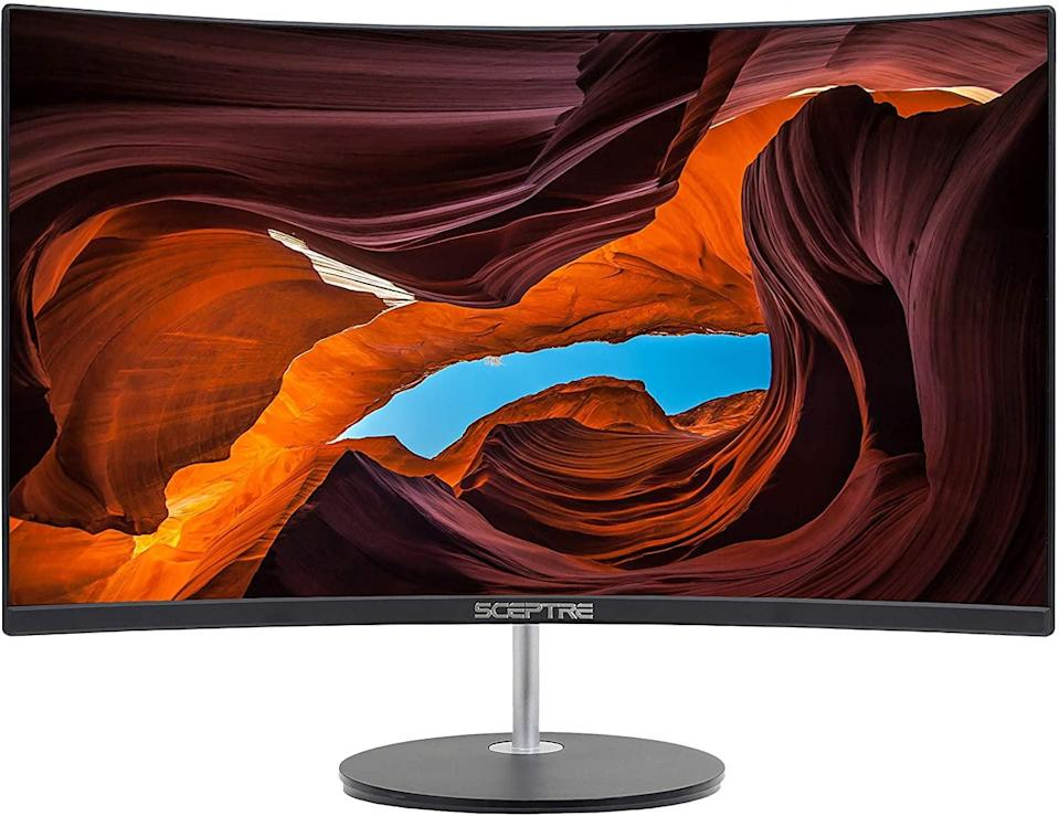 """<p>Whether you want to upgrade your gaming setup or your work-from-home setup, you can't go wrong with the ultra-sleek edgeless <span>Sceptre Curved 27"""" 75Hz LED Monitor HDMI VGA Build-In Speakers</span> ($179).</p>"""