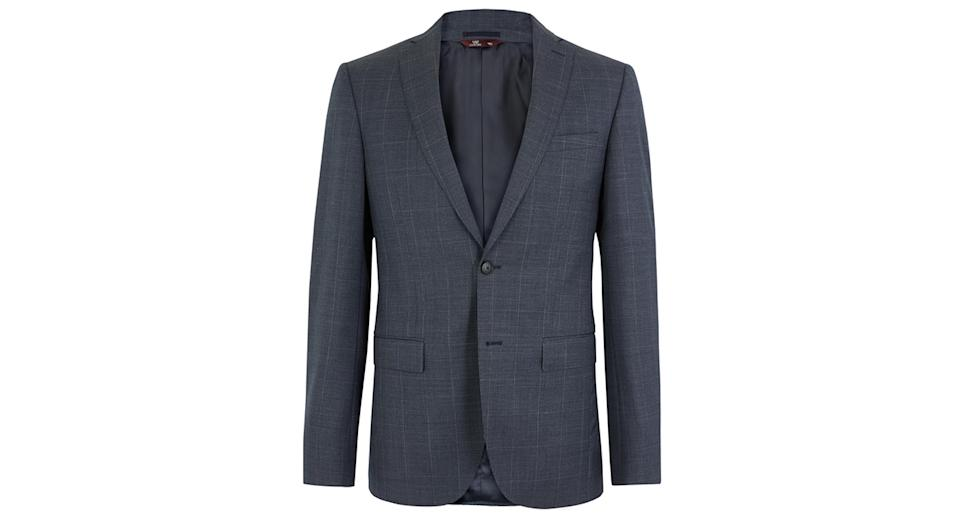 Blue Checked Slim Fit Wool Jacket