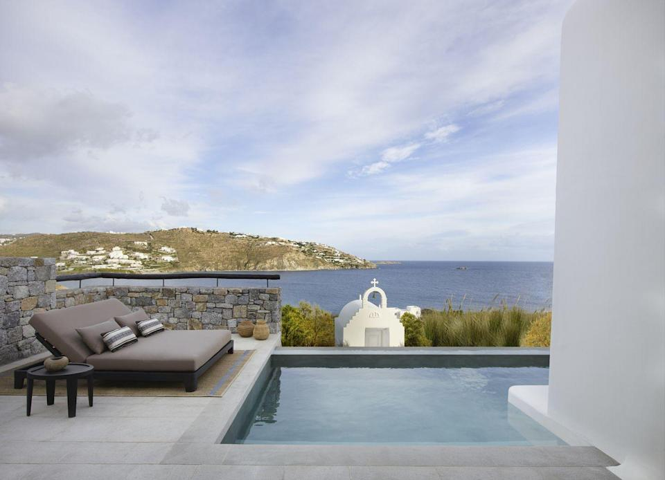 """<p>If you have your heart set on visiting one of Greece's most popular islands, Liadis advises finding a private villa rental or a boutique hotel that offers villa accommodations to have a more exclusive experience.</p><p><a href=""""https://www.kalesmamykonos.com/"""" rel=""""nofollow noopener"""" target=""""_blank"""" data-ylk=""""slk:Kalesma"""" class=""""link rapid-noclick-resp"""">Kalesma</a> opened on Mykonos this month and features 25 beautiful accommodations across five hilltop acres overlooking Ornos Bay. The property features spacious suites and villas boasting private pools, sunset and sea views, and discreet surroundings. Plus, the hotel features a unique array of gastronomic, cultural, and wellness experiences if you don't feel like venturing into town. </p><p>We're also smitten with the new vacation rental offerings from <a href=""""https://www.onefinestay.com/"""" rel=""""nofollow noopener"""" target=""""_blank"""" data-ylk=""""slk:onefinestay"""" class=""""link rapid-noclick-resp"""">onefinestay</a> from Accor Hotels, in Mykonos and Santorini for those seeking more space and privacy for an extended vacation. </p>"""