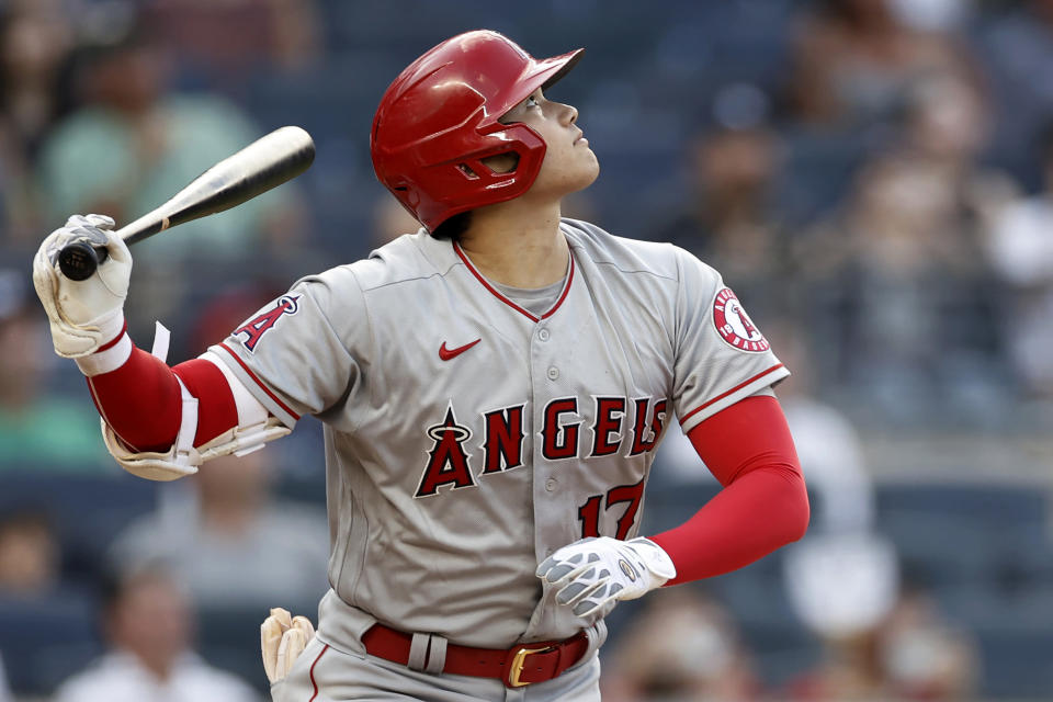 Los Angeles Angels' Shohei Ohtani flies out during the first inning of the team's baseball game against the New York Yankees on Wednesday, June 30, 2021, in New York. (AP Photo/Adam Hunger)