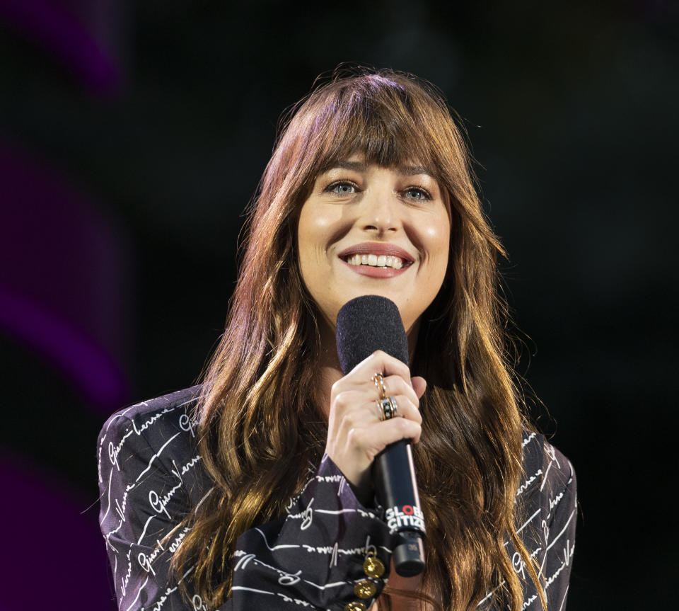 Dakota Johnson speaks on stage during 2019 Global Citizen Festival at Central Park in New York, NY on September 28, 2019 (Photo by Lev Radin / Pacific Press/Sipa USA)