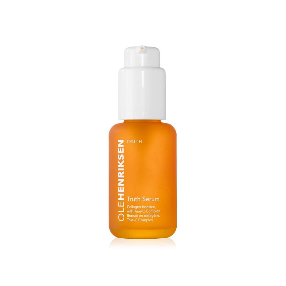 """<p>How do you <a href=""""https://www.refinery29.com/en-us/best-dark-spot-corrector"""" rel=""""nofollow noopener"""" target=""""_blank"""" data-ylk=""""slk:even out your skin tone"""" class=""""link rapid-noclick-resp"""">even out your skin tone</a> once and for all? R29 readers (and over 130,000 Sephora reviewers), will say your best bet is in this orange bottle of Truth Serum. It's packed with <a href=""""https://www.refinery29.com/en-us/best-vitamin-c-serum"""" rel=""""nofollow noopener"""" target=""""_blank"""" data-ylk=""""slk:vitamin C"""" class=""""link rapid-noclick-resp"""">vitamin C</a>, to brighten, correct uneven tone, and create a radiant complexion that only gets glowier with time.</p><br><br><strong>OLEHENRIKSEN</strong> Truth Serum®, $49, available at <a href=""""https://www.sephora.com/product/truth-serum-P42343#locklink"""" rel=""""nofollow noopener"""" target=""""_blank"""" data-ylk=""""slk:Sephora"""" class=""""link rapid-noclick-resp"""">Sephora</a>"""