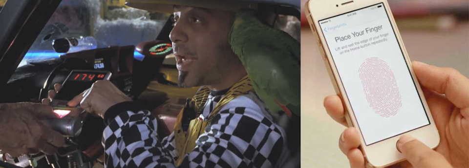 """<p>When <i>Back to the Future Part II</i> was released, the field of biometric authentication — fingerprint readers, retinal scanners — was more fiction than science, at least in the realm of everyday applications. It was rather radical to see characters in the movie use their thumbprint to open locks or pay for cabs. </p><p>Biometric systems are everywhere these days, of course. We've got facial-recognition algorithms in our cameras and fingerprint scanners on our phones. We're likely to <a href=""""http://www.businessinsider.com/selfies-will-kill-off-passwords-within-five-years-says-mastercard-2015-10"""" rel=""""nofollow noopener"""" target=""""_blank"""" data-ylk=""""slk:see even more of this"""" class=""""link rapid-noclick-resp"""">see even more of this</a> in coming years, as new iterations of biometric technology replace traditional retail and authentication systems.</p>"""