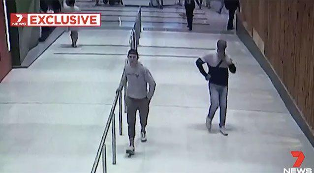 Two men at Macquarie shopping centre allegedly approached a 13-year-old boy asking for his shoes. Source: 7 News