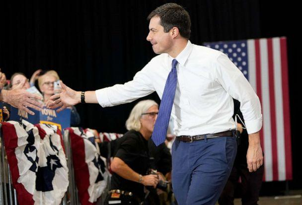 PHOTO: Democratic presidential candidate South Bend, Indiana Mayor Pete Buttigieg greets Iowa voters while arriving at a campaign event, Dec. 8, 2019, in Coralville, Iowa. (Win Mcnamee/Getty Images)