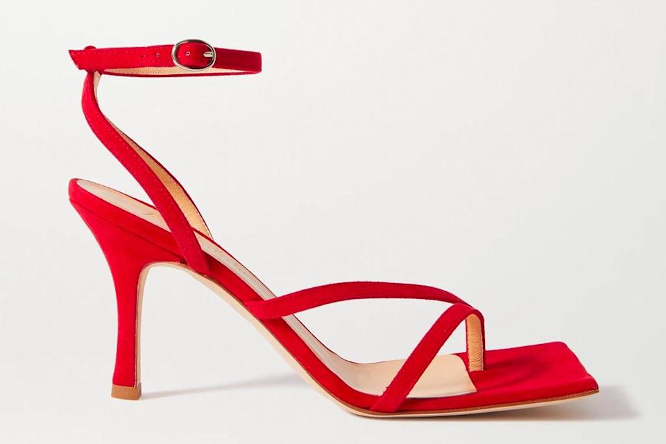 red sandals, heels, awake mode