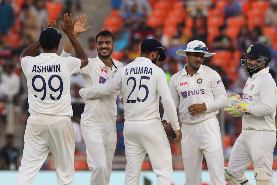 Axar Patel of India during day one of the third PayTM test match between India and England held at the Narendra Modi Stadium, Ahmedabad.