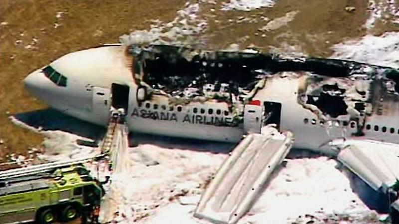 This frame grab from video provided by KTVU shows the scene after an Asiana Airlines flight crashed while landing at San Francisco Airport on Saturday, July 6, 2013, in San Francisco. (AP Photo/KTVU) MANDATORY CREDIT