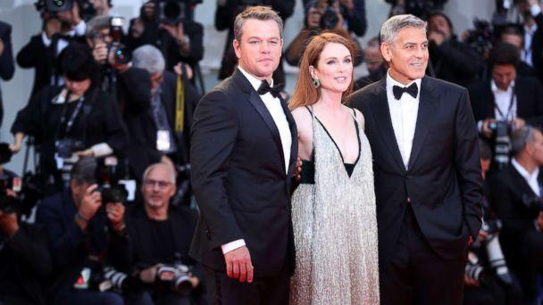 PHOTO: Matt Damon, Julianne Moore and George Clooney walk the red carpet ahead of the 'Suburbicon' screening during the 74th Venice Film Festival at Sala Grande, Sept. 2, 2017 in Venice, Italy. (Vittorio Zunino Celotto/Getty Images)