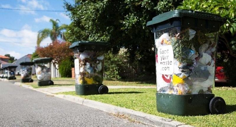 The transparent bins lined up in a Perth suburb. Source: Face Your Waste