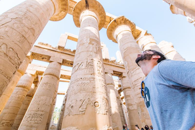 Man being a tourist in Egypt