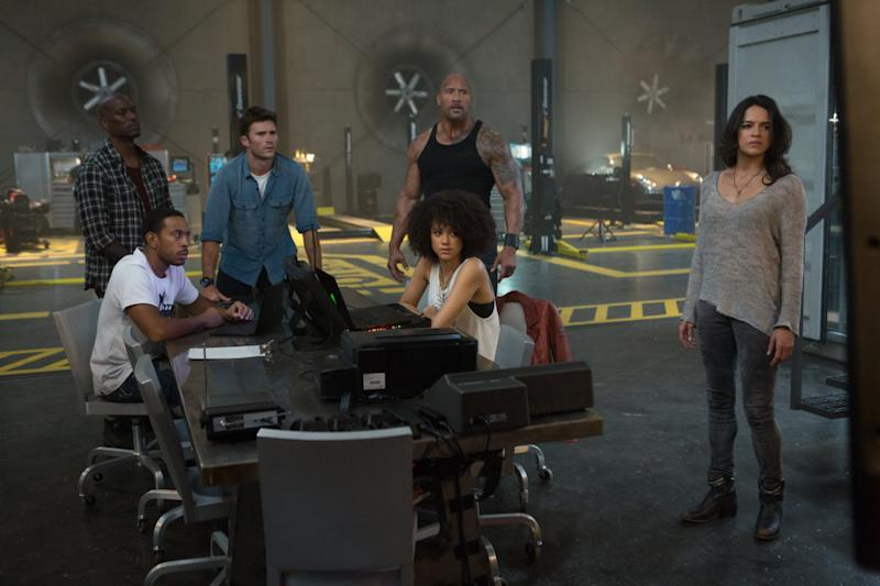 The 'Fast 8' team, L-R: Tyrese Gibson, Chris 'Ludacris' Bridges, Scott Eastwood, Dwayne 'The Rock' Johnson, Nathalie Emmanuel, Michelle Rodriguez (credit: Universal)