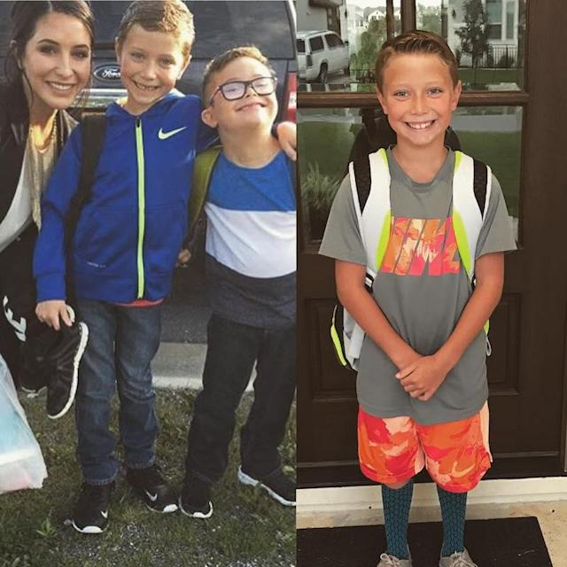 "<p>""First day of 2nd compared to first day of 3rd!! This is going by tooooo fast,"" wrote Sarah Palin's daughter Bristol. The old photo also included her little brother, Trig. (Photos: <a href=""https://www.instagram.com/p/BX3IBZ_hWMh/?hl=en&taken-by=bsmp2"" rel=""nofollow noopener"" target=""_blank"" data-ylk=""slk:Bristol Meyer via Instagram"" class=""link rapid-noclick-resp"">Bristol Meyer via Instagram</a>) </p>"