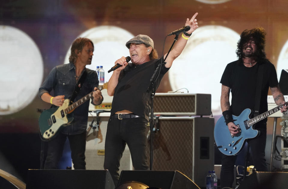 """Brian Johnson of AC/DC performs with the Foo Fighters at """"Vax Live: The Concert to Reunite the World"""" on Sunday, May 2, 2021, at SoFi Stadium in Inglewood, Calif. (Photo by Jordan Strauss/Invision/AP)"""