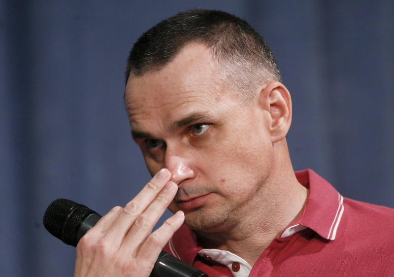 Ukrainian filmmaker Oleg Sentsov, former Russian prisoner, attends a press conference in Kyiv, Ukraine, Tuesday, Sept. 10, 2019. After five years of being locked up in a Russian prison Sentsov was one of the 35 freed Ukrainian prisoners. (AP Photo/Efrem Lukatsky)