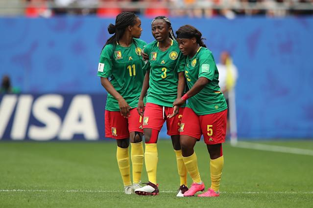 Cameroon's on-the-field behavior during their loss to England is now being investigated by FIFA. (Photo by Molly Darlington - AMA/Getty Images)
