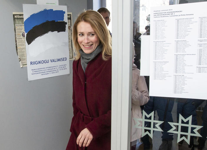 FILE - In this file photo dated Sunday, March 3, 2019, Chairwoman of the Reform Party Kaja Kallas arrives at a polling station during a parliamentary elections in Tallinn, Estonia. President Kersti Kaljulaid said Thursday Jan. 14, 2021, in a statement that Kaja Kallas would now have 14-days to put together a new Cabinet, after Prime Minister Juri Ratas stepped down in the wake of a corruption scandal. (AP Photo/Raul Mee)