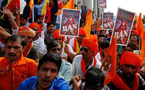 Demonstrators protest the release of the film in Bangalore - Credit: REUTERS/Abhishek N. Chinnappa