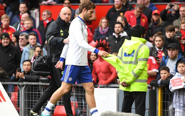 <span>Marcos Alonso injured himself during the warm-up at Old Trafford</span>