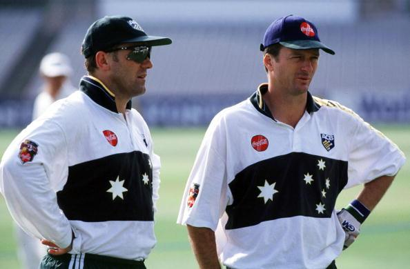 MARK TAYLOR AND STEVE WAUGH / AUSTRALIA : News Photo
