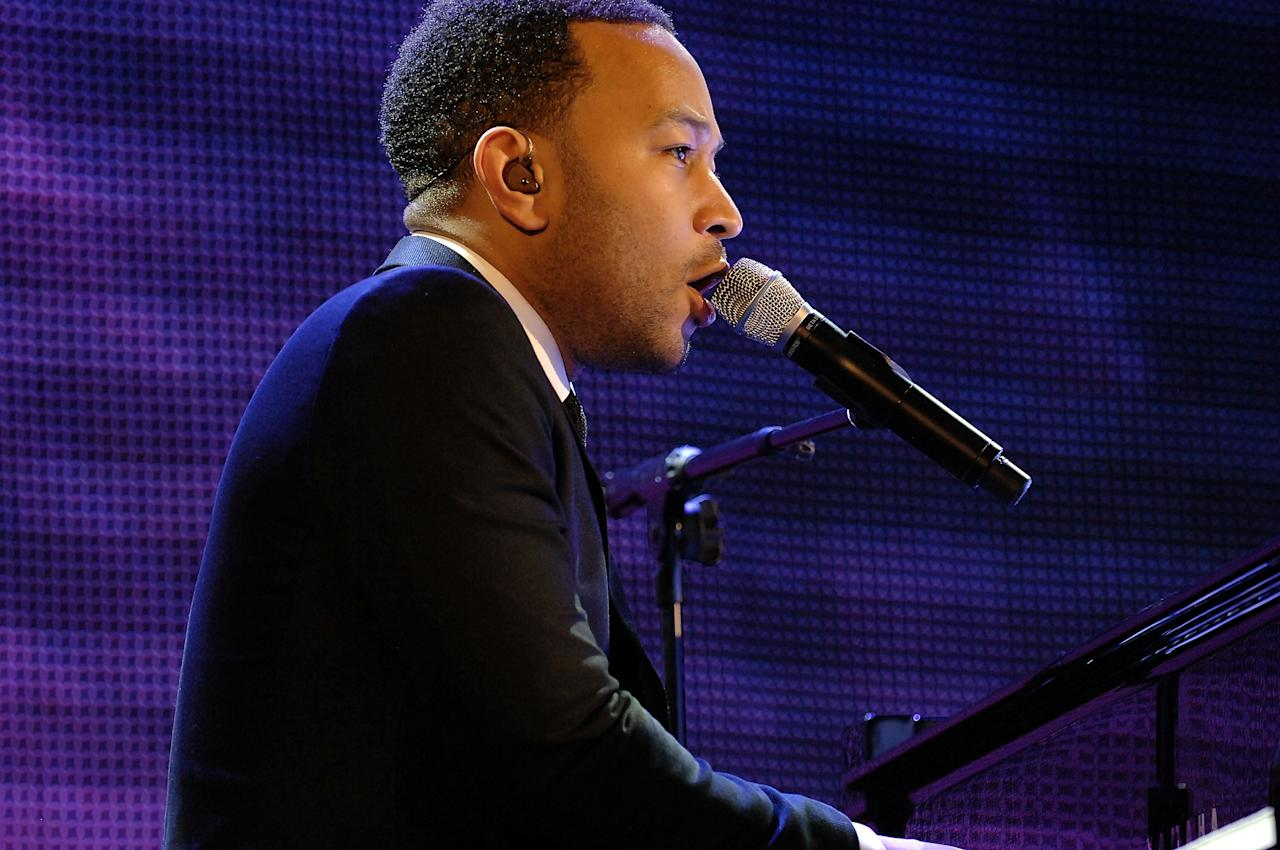 LAS VEGAS, NV - APRIL 05:  Recording artist John Legend performs onstage at the 12th Annual Michael Jordan Celebrity Invitational Gala At ARIA Resort & Casino on April 5, 2013 in Las Vegas, Nevada.  (Photo by Isaac Brekken/Getty Images for Michael Jordan Celebrity Invitational)