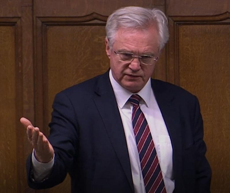 Screen grab of Conservative MP David Davis during second reading of the Coronavirus Bill in the House of Commons.