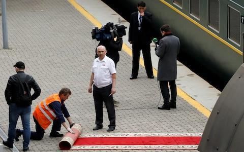 A red carpet was rolled out to meet Kim's train - Credit: Reuters/Shamil Zhumatov