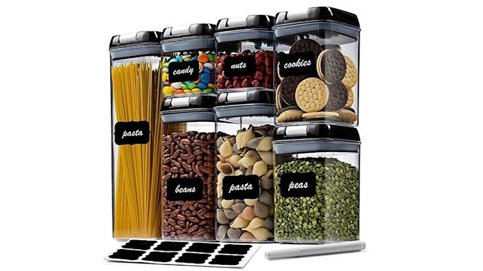 These airtight containers are perfect for storing dry foods.