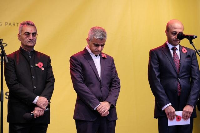 London mayor Sadiq Khan attended the event and led a minute's silence for those who died in the First World War