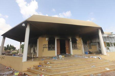 An exterior view of the U.S. consulate, which was attacked and set on fire by gunmen, in Benghazi, in this September 12, 2012 file photo. REUTERS/Esam Al-Fetori/Files