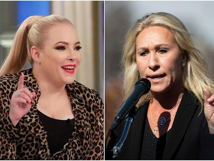 Meghan McCain, left, and Marjorie Taylor Greene, pictured right.