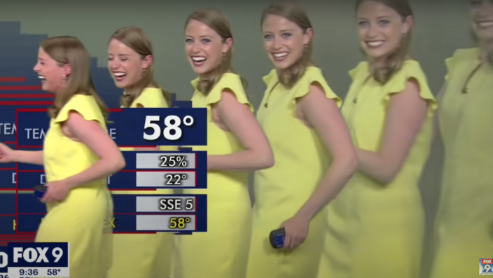 A technical glitch resulted in a meteorologist leading her clones across the screen during a forecast.