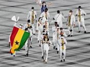 <p>Ghana wore white outfits with intricate patterns in the color of their national flag. </p>