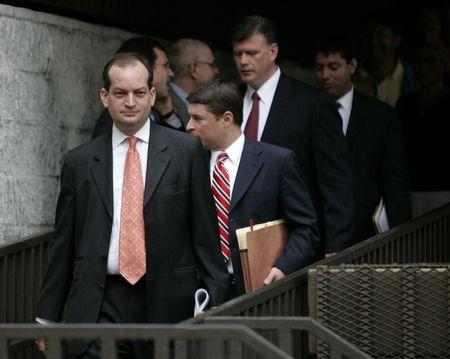 R. Alexander Acosta exits U.S. District Court with other attorneys at U.S. District Court in Fort Lauderdale, Florida June 19, 2008.  REUTERS/Joe Skipper
