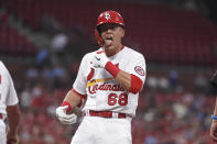 St. Louis Cardinals' Lars Nootbaar reacts after hitting an RBI single during the second inning of a baseball game against the Pittsburgh Pirates Thursday, June 24, 2021, in St. Louis. (AP Photo/Joe Puetz)
